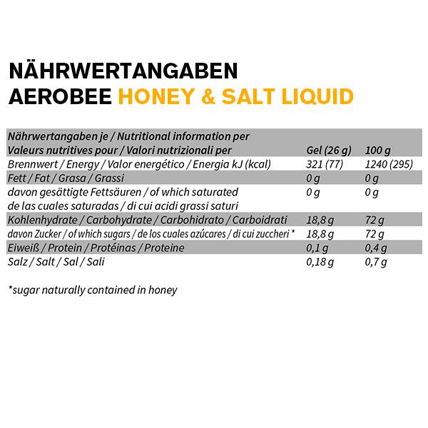 Aerobee Ausdauer Gel Nährwerttabelle Honey Salt Liquid