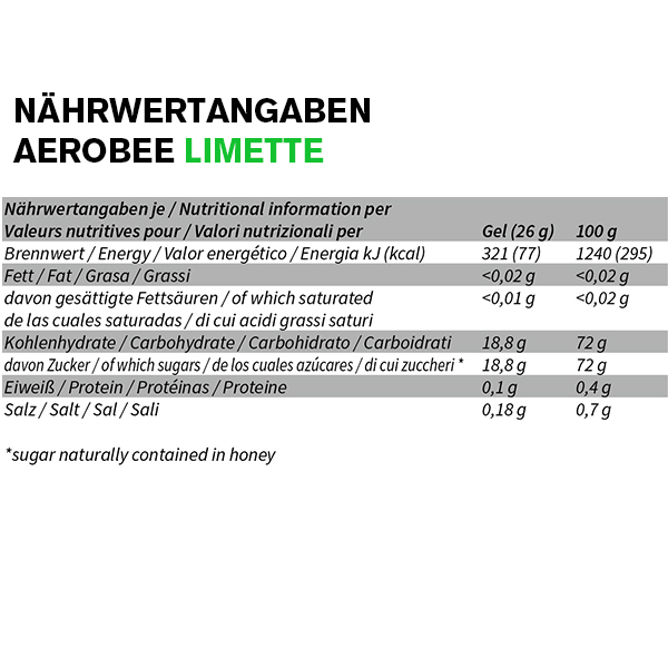 Aerobee Ausdauer Gel Nährwerttabelle Limette