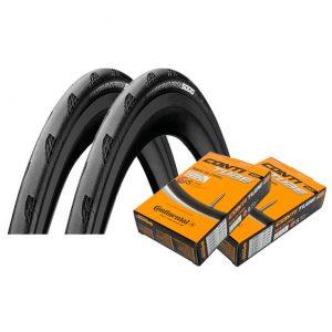 Continental Grand Prix 5000 Bundle - 2x Faltreifen + Race Schlauch - 25-622 - schwarz